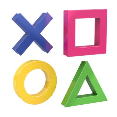 MEGA MINI  mágnes szett 1 x kereszt, kör, háromszög négyzet, 45x45 mm